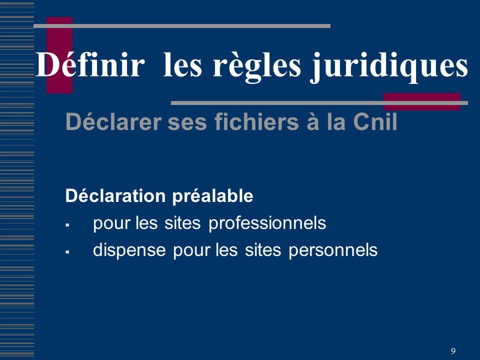 9 Définir les règles juridiques Déclarer ses fichiers à la Cnil Déclaration préalable pour les sites professionnels dispense pour les sites personnels