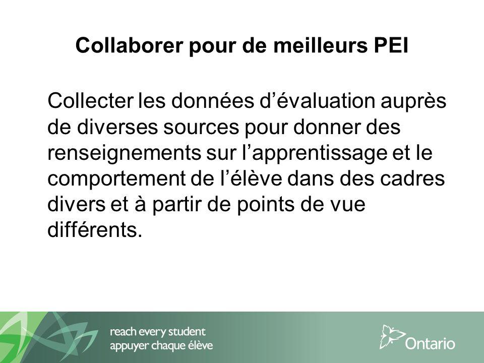 Collaborer pour de meilleurs PEI Collecter les données dévaluation auprès de diverses sources pour donner des renseignements sur lapprentissage et le comportement de lélève dans des cadres divers et à partir de points de vue différents.