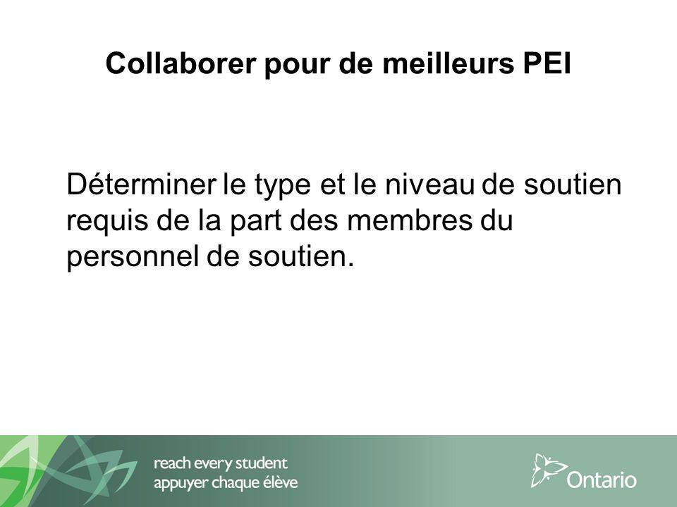 Déterminer le type et le niveau de soutien requis de la part des membres du personnel de soutien.