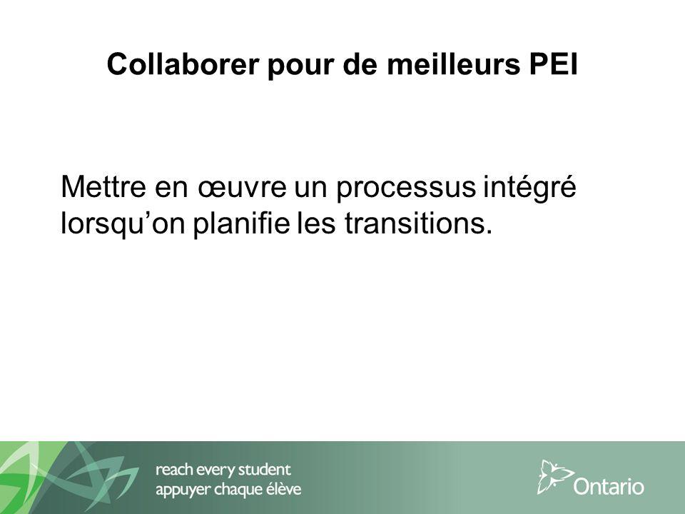Collaborer pour de meilleurs PEI Mettre en œuvre un processus intégré lorsquon planifie les transitions.