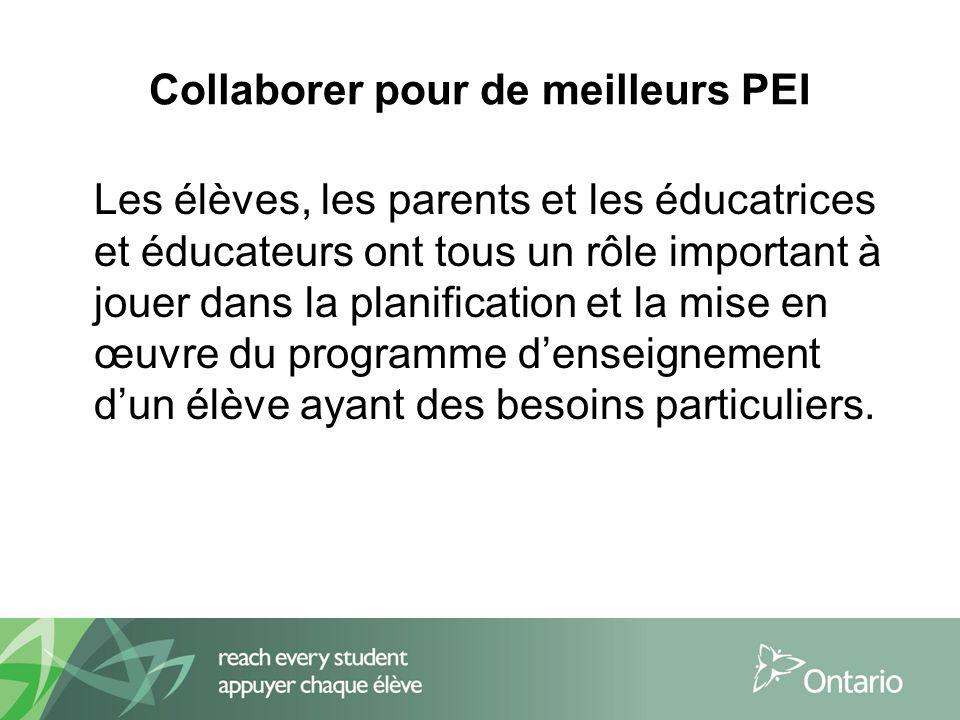 Collaborer pour de meilleurs PEI Les élèves, les parents et les éducatrices et éducateurs ont tous un rôle important à jouer dans la planification et la mise en œuvre du programme denseignement dun élève ayant des besoins particuliers.