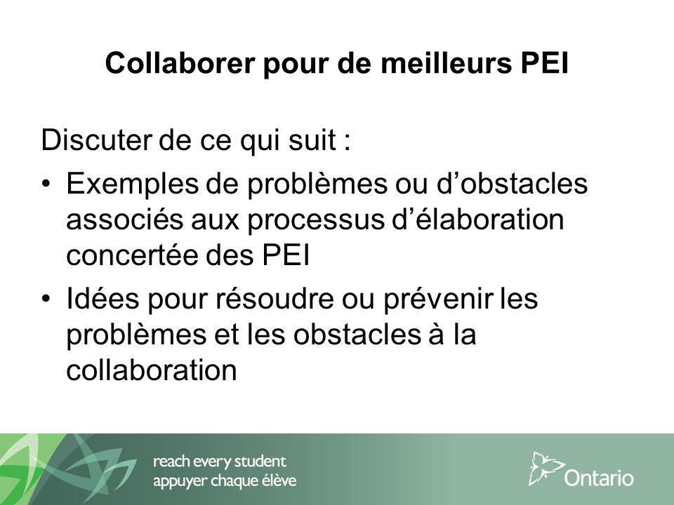Collaborer pour de meilleurs PEI Discuter de ce qui suit : Exemples de problèmes ou dobstacles associés aux processus délaboration concertée des PEI Idées pour résoudre ou prévenir les problèmes et les obstacles à la collaboration