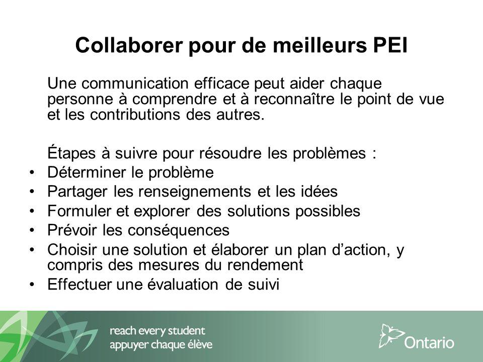 Collaborer pour de meilleurs PEI Une communication efficace peut aider chaque personne à comprendre et à reconnaître le point de vue et les contributions des autres.