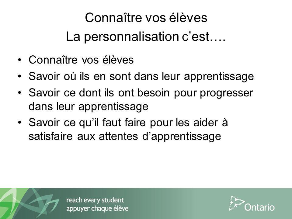 Connaître vos élèves La personnalisation cest….