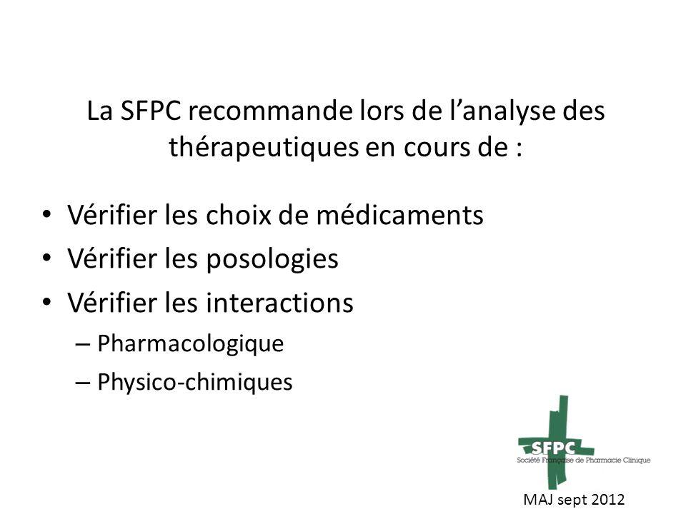 La SFPC recommande lors de lanalyse des thérapeutiques en cours de : Vérifier les choix de médicaments Vérifier les posologies Vérifier les interactions – Pharmacologique – Physico-chimiques MAJ sept 2012
