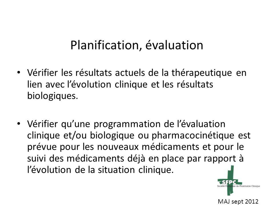 Planification, évaluation Vérifier les résultats actuels de la thérapeutique en lien avec lévolution clinique et les résultats biologiques.