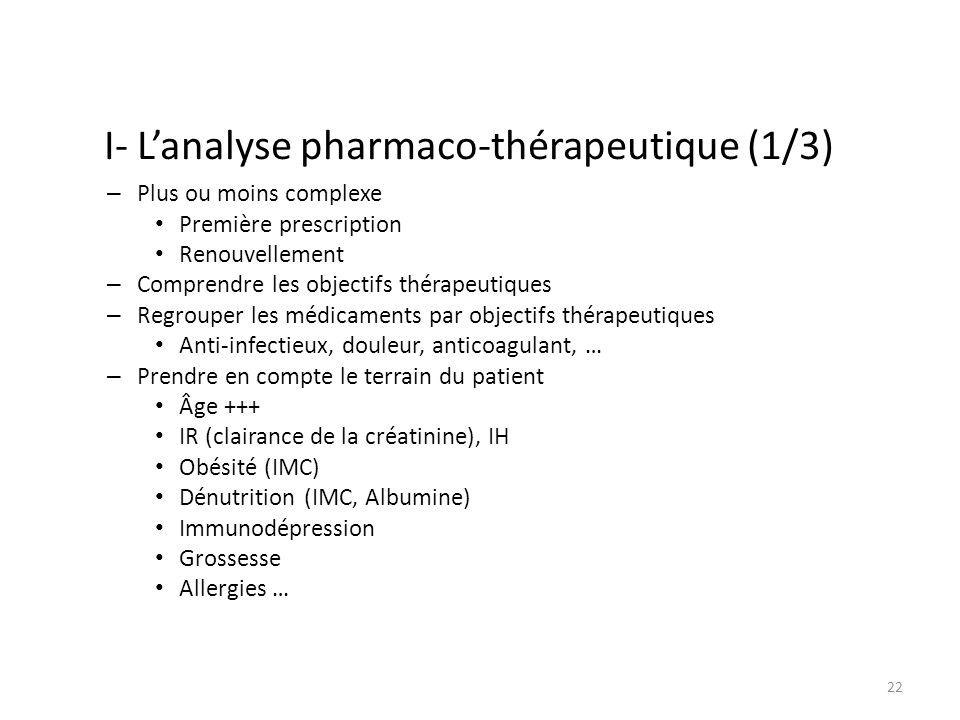 I- Lanalyse pharmaco-thérapeutique (1/3) – Plus ou moins complexe Première prescription Renouvellement – Comprendre les objectifs thérapeutiques – Regrouper les médicaments par objectifs thérapeutiques Anti-infectieux, douleur, anticoagulant, … – Prendre en compte le terrain du patient Âge +++ IR (clairance de la créatinine), IH Obésité (IMC) Dénutrition (IMC, Albumine) Immunodépression Grossesse Allergies … 22