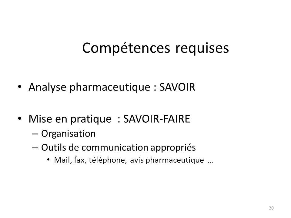 Compétences requises Analyse pharmaceutique : SAVOIR Mise en pratique : SAVOIR-FAIRE – Organisation – Outils de communication appropriés Mail, fax, téléphone, avis pharmaceutique … 30