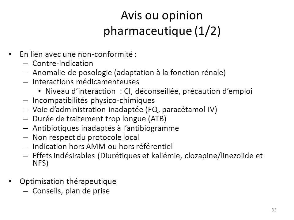 Avis ou opinion pharmaceutique (1/2) En lien avec une non-conformité : – Contre-indication – Anomalie de posologie (adaptation à la fonction rénale) – Interactions médicamenteuses Niveau dinteraction : CI, déconseillée, précaution demploi – Incompatibilités physico-chimiques – Voie dadministration inadaptée (FQ, paracétamol IV) – Durée de traitement trop longue (ATB) – Antibiotiques inadaptés à lantibiogramme – Non respect du protocole local – Indication hors AMM ou hors référentiel – Effets indésirables (Diurétiques et kaliémie, clozapine/linezolide et NFS) Optimisation thérapeutique – Conseils, plan de prise 33