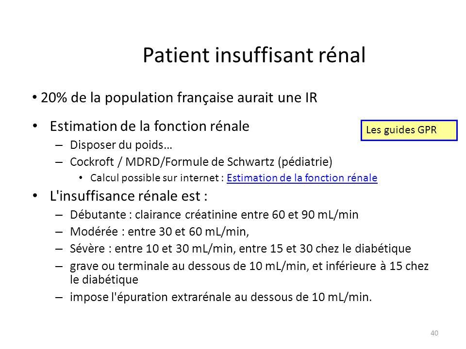 Patient insuffisant rénal Estimation de la fonction rénale – Disposer du poids… – Cockroft / MDRD/Formule de Schwartz (pédiatrie) Calcul possible sur internet : Estimation de la fonction rénaleEstimation de la fonction rénale L insuffisance rénale est : – Débutante : clairance créatinine entre 60 et 90 mL/min – Modérée : entre 30 et 60 mL/min, – Sévère : entre 10 et 30 mL/min, entre 15 et 30 chez le diabétique – grave ou terminale au dessous de 10 mL/min, et inférieure à 15 chez le diabétique – impose l épuration extrarénale au dessous de 10 mL/min.