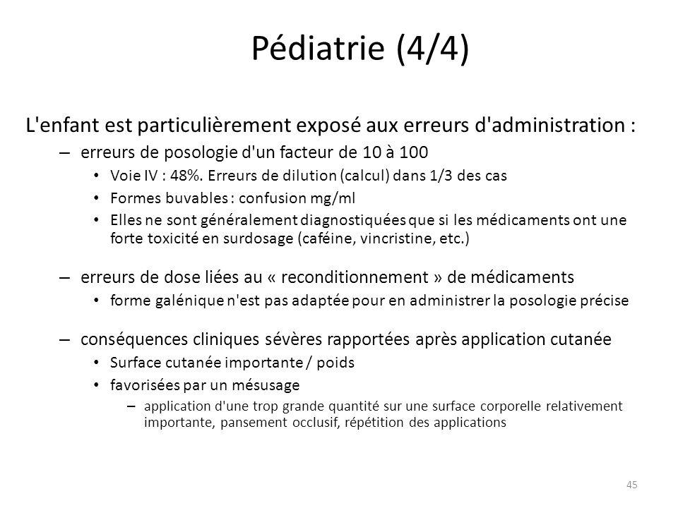 Pédiatrie (4/4) L enfant est particulièrement exposé aux erreurs d administration : – erreurs de posologie d un facteur de 10 à 100 Voie IV : 48%.