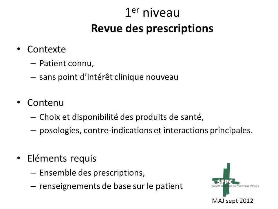 2 ème niveau Revue des thérapeutiques Contexte – Patient connu, – situation en évolution Contenu – Choix et disponibilité des produits de santé, – posologies, contre-indications et interactions principales.