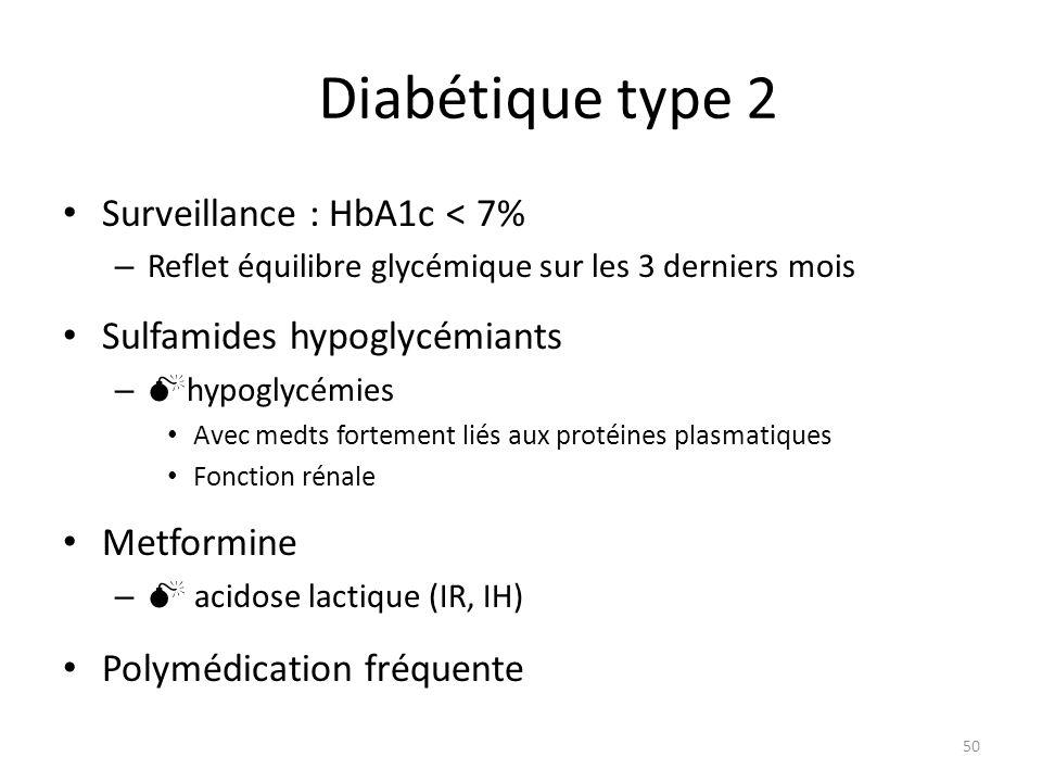 Diabétique type 2 Surveillance : HbA1c < 7% – Reflet équilibre glycémique sur les 3 derniers mois Sulfamides hypoglycémiants – hypoglycémies Avec medts fortement liés aux protéines plasmatiques Fonction rénale Metformine – acidose lactique (IR, IH) Polymédication fréquente 50