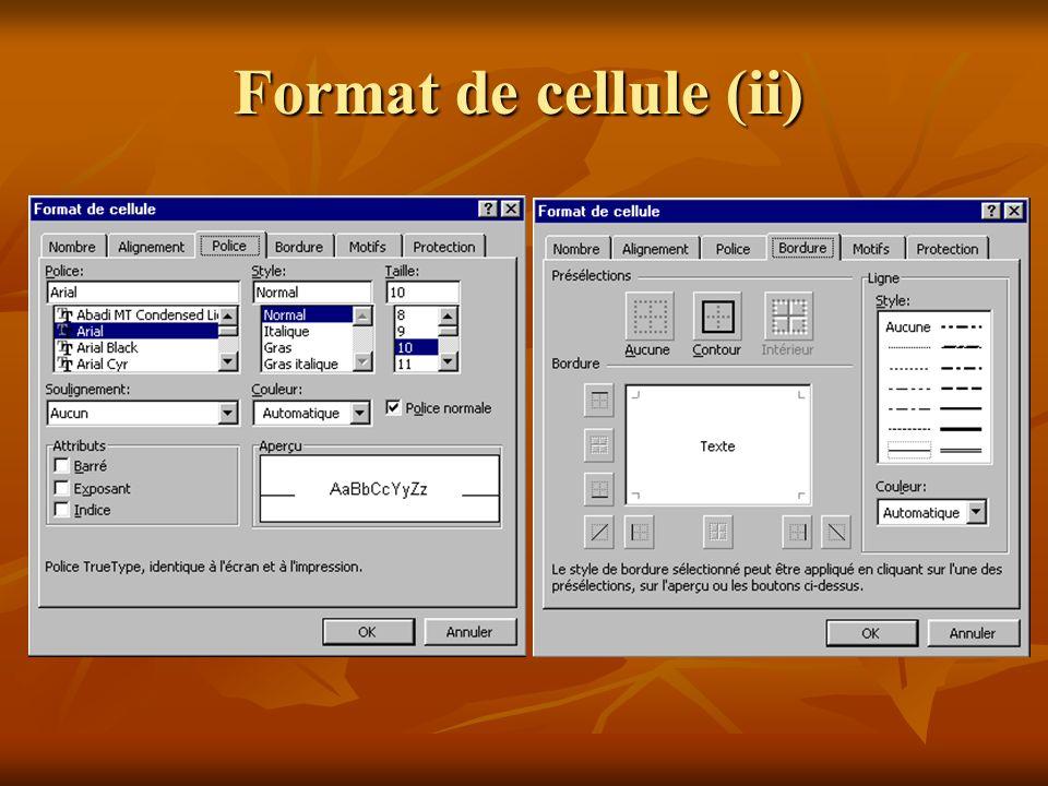 Format de cellule (i)