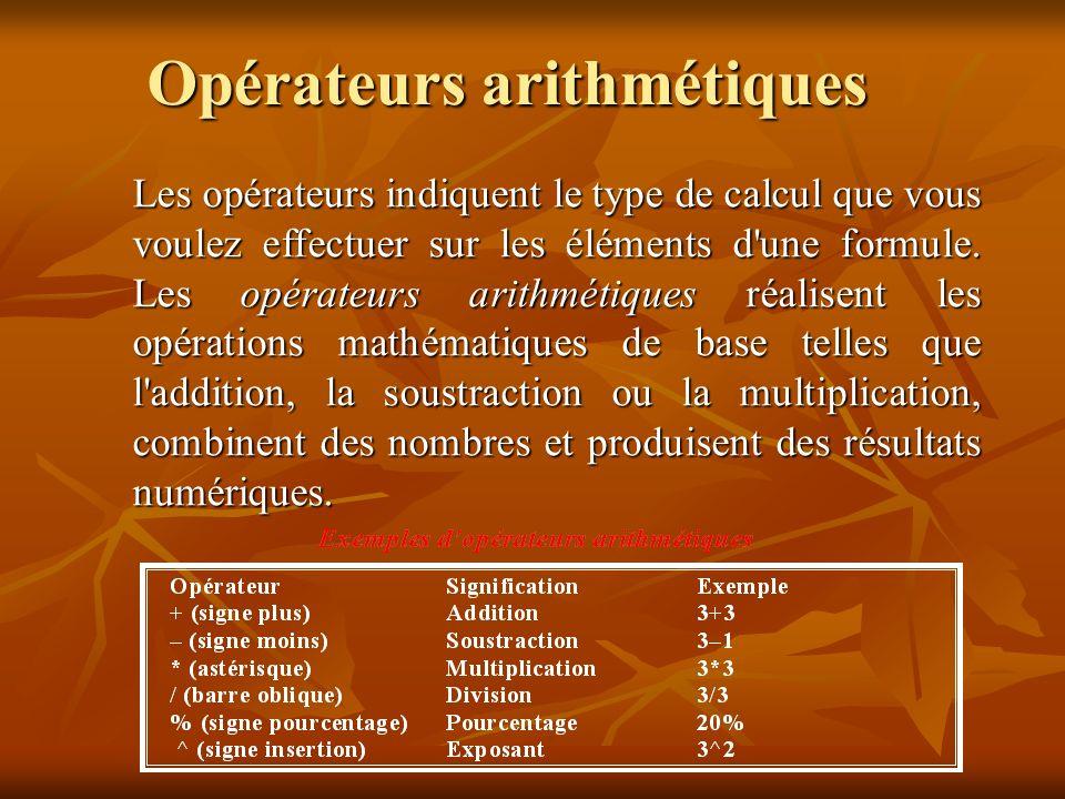 Opérations arithmétiques Pour effectuer des opérations arithmétiques simples ou calculer des expressions mathématiques dans une feuille Excel, utiliser le champ = (Formule).