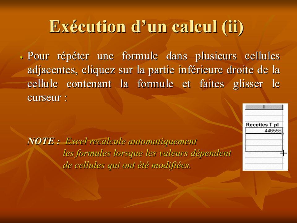 Exécution dun calcul (i) Cliquez sur la cellule dans laquelle vous souhaitez voir apparaître le résultat.
