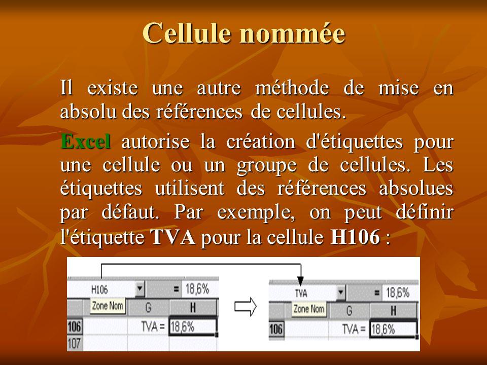 Références relatives et références absolues Dans les formules de calculs, l adaptation des coordonnées des cellules en fonction de leur position relative est automatique.