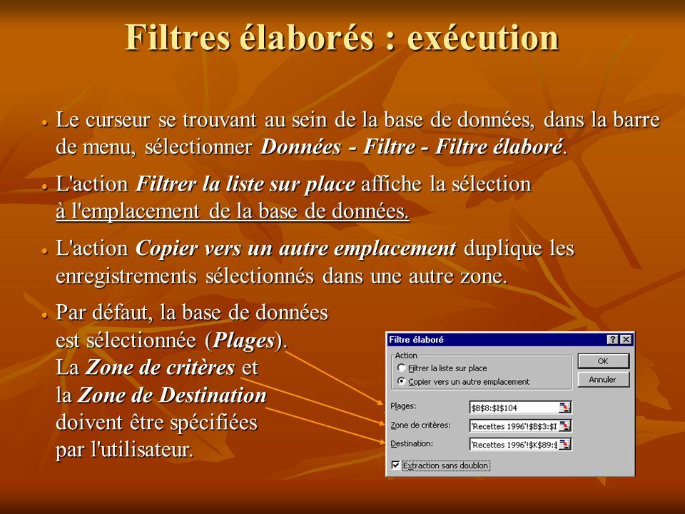 Filtres élaborés : zone de critères Si vous devez appliquer trois conditions ou davantage à une colonne, utiliser des valeurs calculées comme critères ou copier des enregistrements vers un autre emplacement, vous devez utiliser des filtres élaborés.