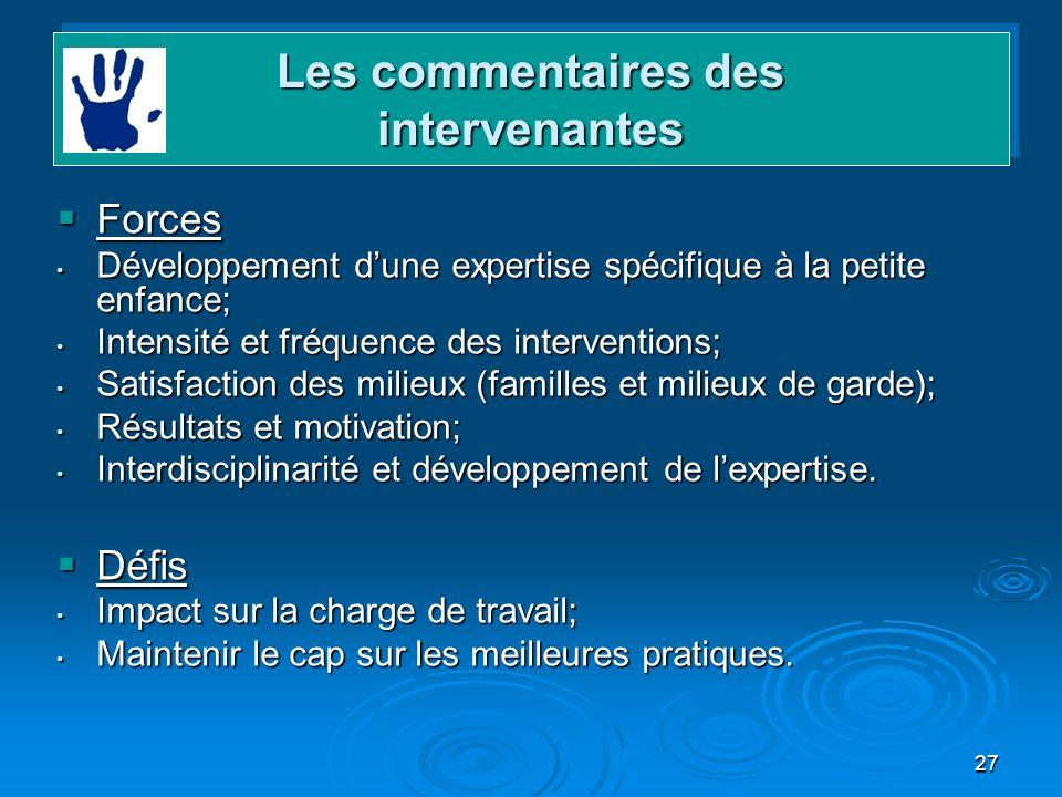 27 Forces Forces Développement dune expertise spécifique à la petite enfance; Développement dune expertise spécifique à la petite enfance; Intensité e