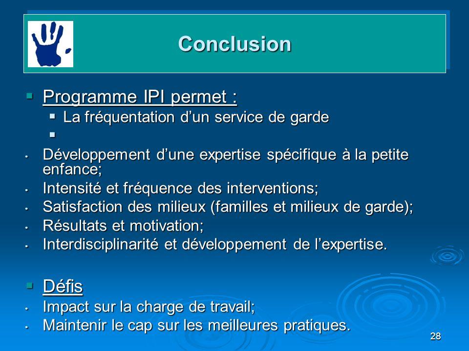 28 Programme IPI permet : Programme IPI permet : La fréquentation dun service de garde La fréquentation dun service de garde Développement dune expert