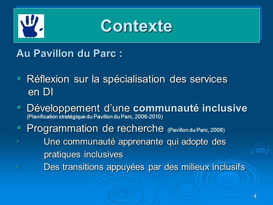 4 ContexteContexte Au Pavillon du Parc : Réflexion sur la spécialisation des services Réflexion sur la spécialisation des services en DI en DI Dévelop
