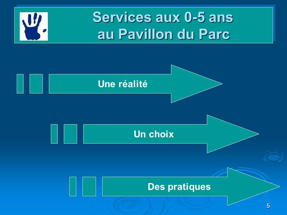 5 Services aux 0-5 ans au Pavillon du Parc Services aux 0-5 ans au Pavillon du Parc Une réalité Un choix Des pratiques