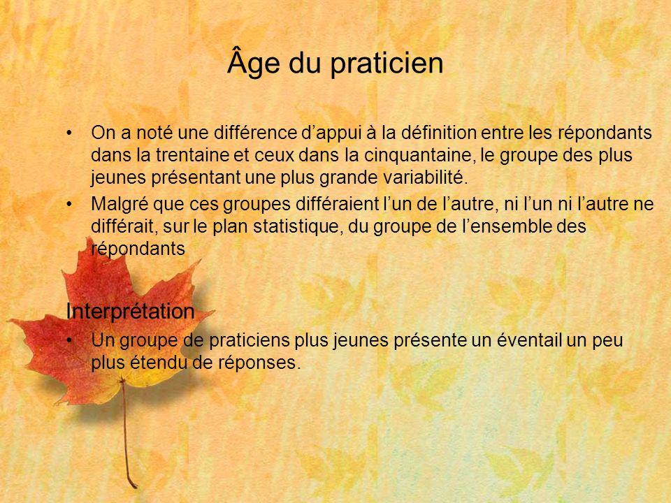 Âge du praticien On a noté une différence dappui à la définition entre les répondants dans la trentaine et ceux dans la cinquantaine, le groupe des plus jeunes présentant une plus grande variabilité.