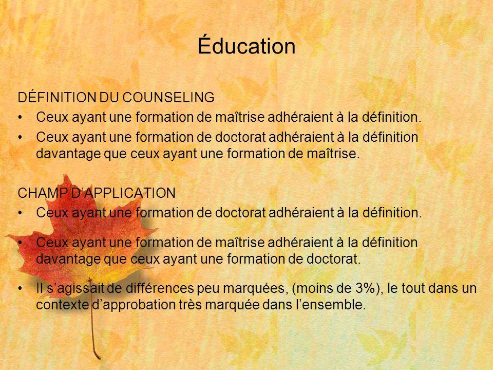 Éducation DÉFINITION DU COUNSELING Ceux ayant une formation de maîtrise adhéraient à la définition.
