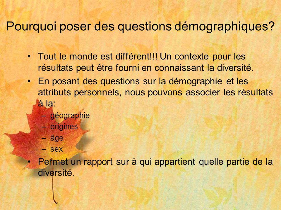 Pourquoi poser des questions démographiques. Tout le monde est différent!!.