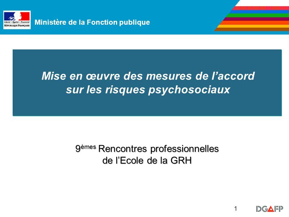 Ministère de la Fonction publique 1 Mise en œuvre des mesures de laccord sur les risques psychosociaux 9 èmes Rencontres professionnelles de lEcole de la GRH