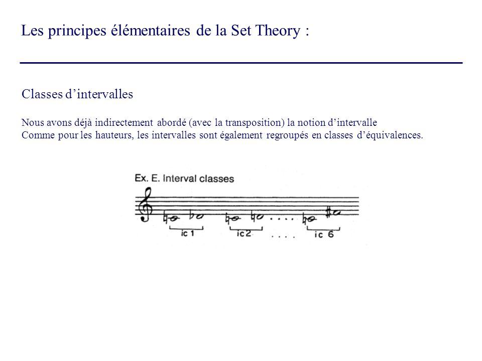 Classes dintervalles Nous avons déjà indirectement abordé (avec la transposition) la notion dintervalle Comme pour les hauteurs, les intervalles sont