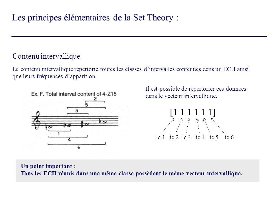 Contenu intervallique Le contenu intervallique répertorie toutes les classes dintervalles contenues dans un ECH ainsi que leurs fréquences dapparition
