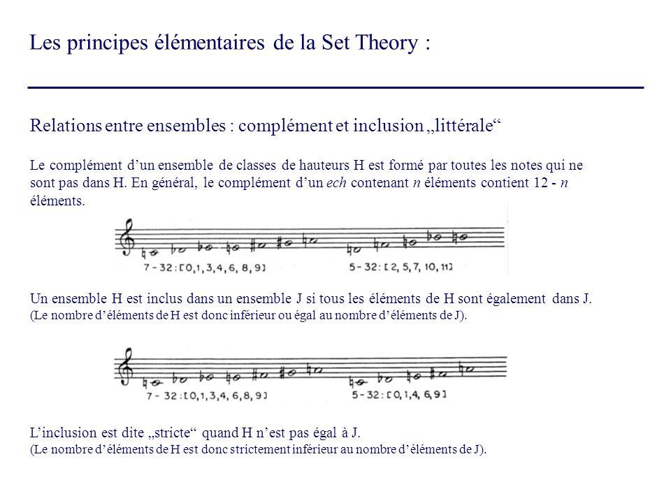 Relations entre ensembles : complément et inclusion littérale Le complément dun ensemble de classes de hauteurs H est formé par toutes les notes qui n