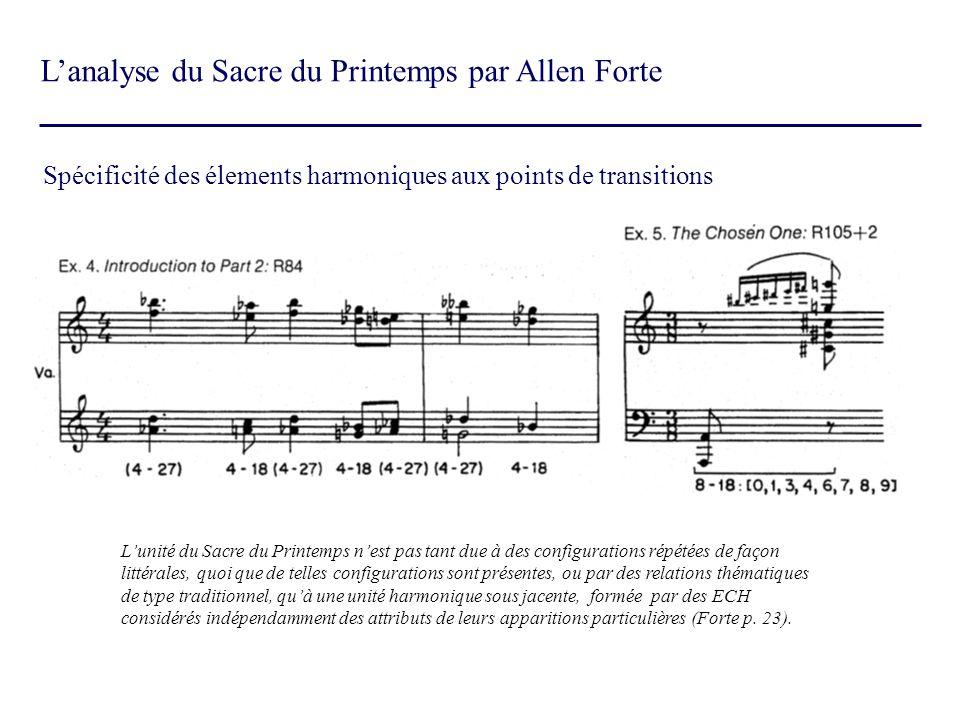 Lanalyse du Sacre du Printemps par Allen Forte Spécificité des élements harmoniques aux points de transitions Lunité du Sacre du Printemps nest pas ta