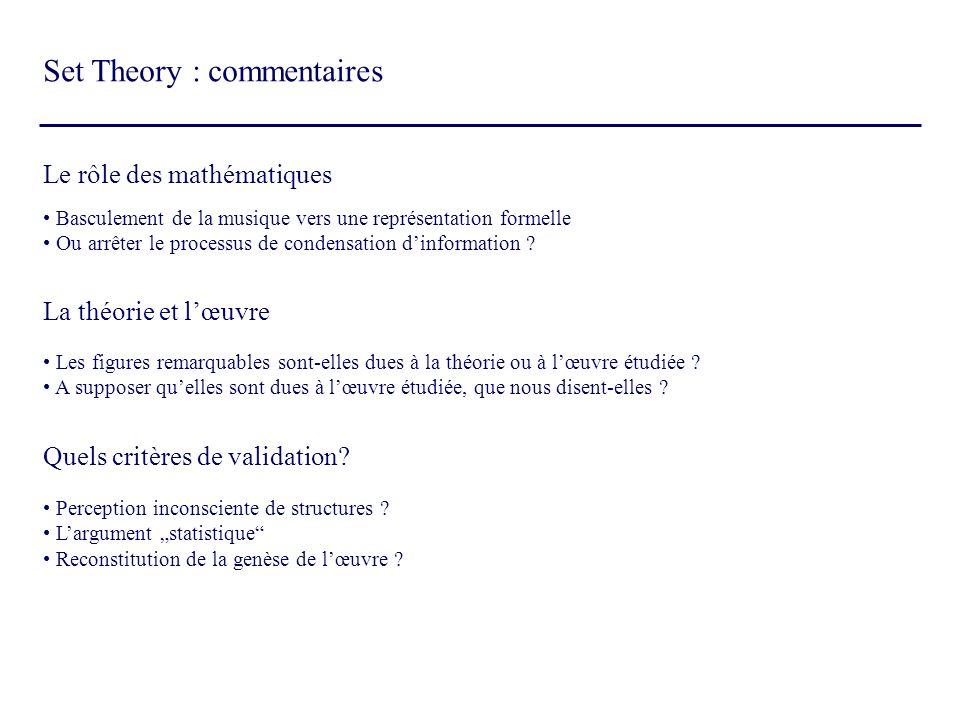 Set Theory : commentaires Le rôle des mathématiques Basculement de la musique vers une représentation formelle Ou arrêter le processus de condensation