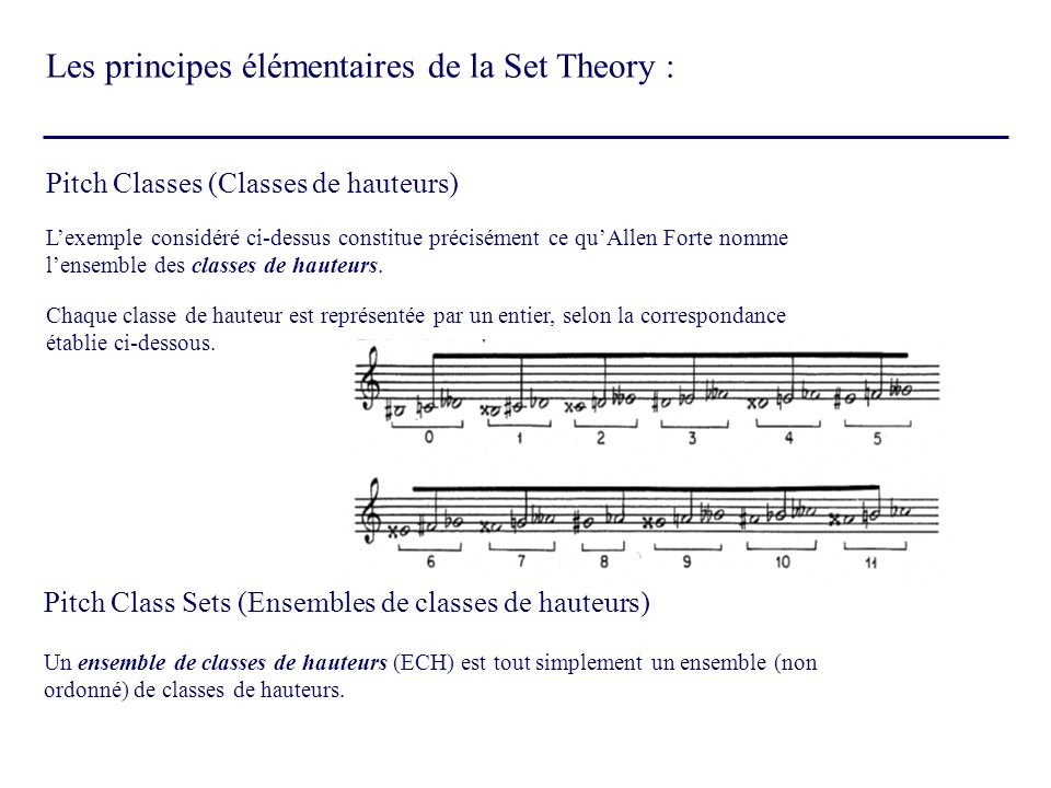 Pitch Classes (Classes de hauteurs) Pitch Class Sets (Ensembles de classes de hauteurs) Lexemple considéré ci-dessus constitue précisément ce quAllen