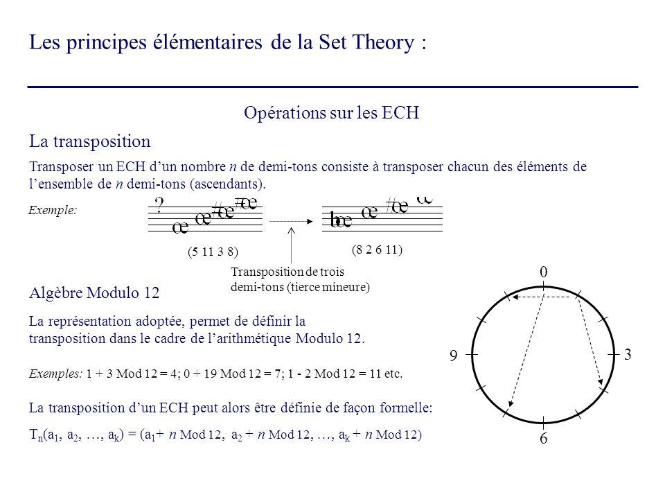 La transposition Opérations sur les ECH Transposer un ECH dun nombre n de demi-tons consiste à transposer chacun des éléments de lensemble de n demi-t