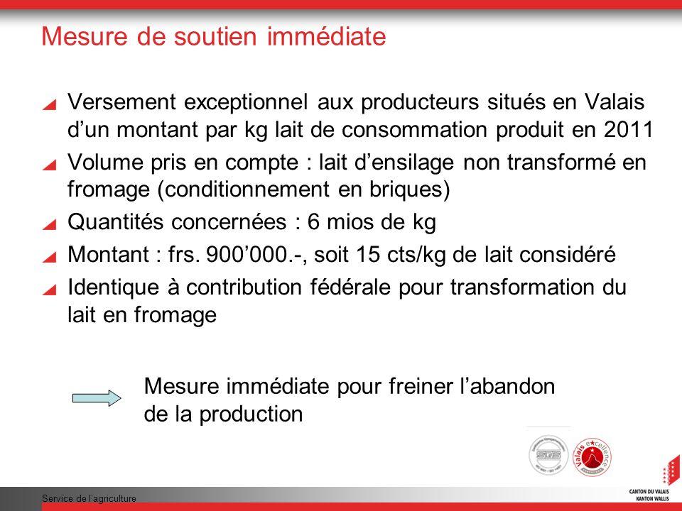 Service de lagriculture Mesure de soutien immédiate Versement exceptionnel aux producteurs situés en Valais dun montant par kg lait de consommation pr