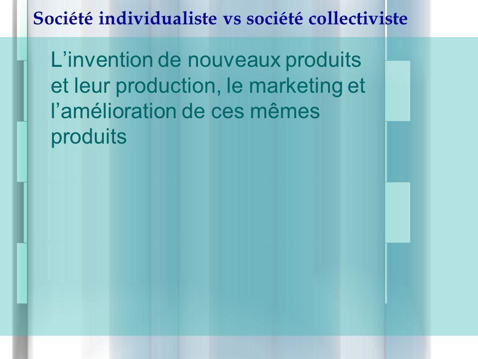 Société individualiste vs société collectiviste Linvention de nouveaux produits et leur production, le marketing et lamélioration de ces mêmes produit