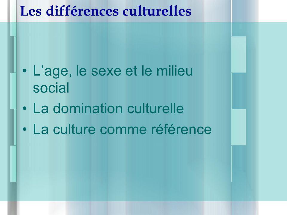 Les différences culturelles Lage, le sexe et le milieu social La domination culturelle La culture comme référence