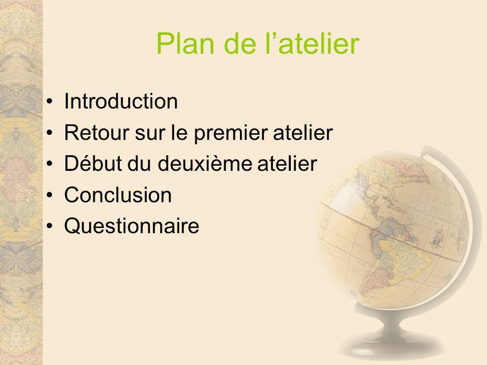 Plan de latelier Introduction Retour sur le premier atelier Début du deuxième atelier Conclusion Questionnaire