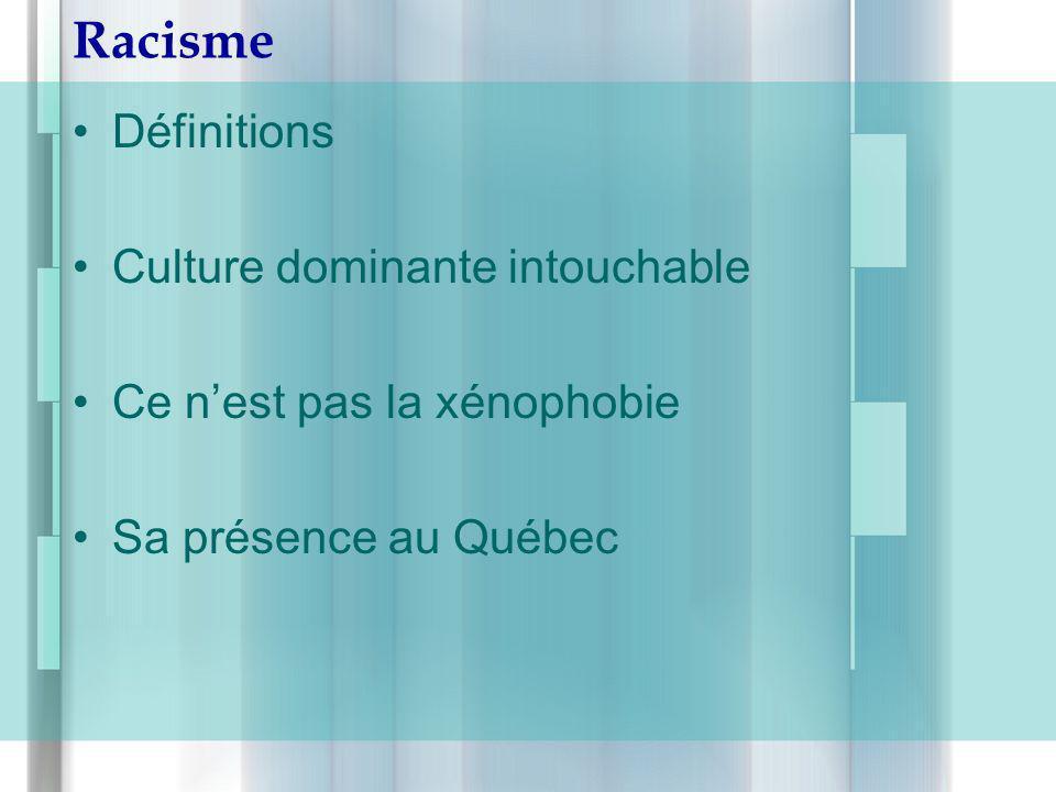 Racisme Définitions Culture dominante intouchable Ce nest pas la xénophobie Sa présence au Québec