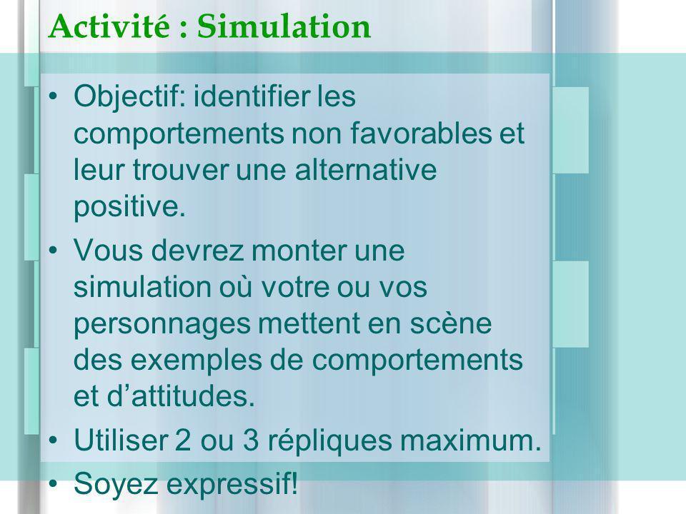 Activité : Simulation Objectif: identifier les comportements non favorables et leur trouver une alternative positive. Vous devrez monter une simulatio