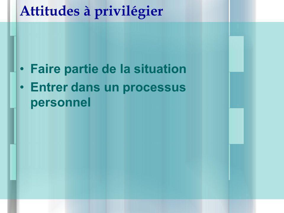 Attitudes à privilégier Faire partie de la situation Entrer dans un processus personnel