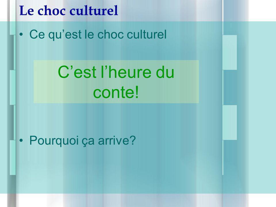 Le choc culturel Ce quest le choc culturel Pourquoi ça arrive? Cest lheure du conte!