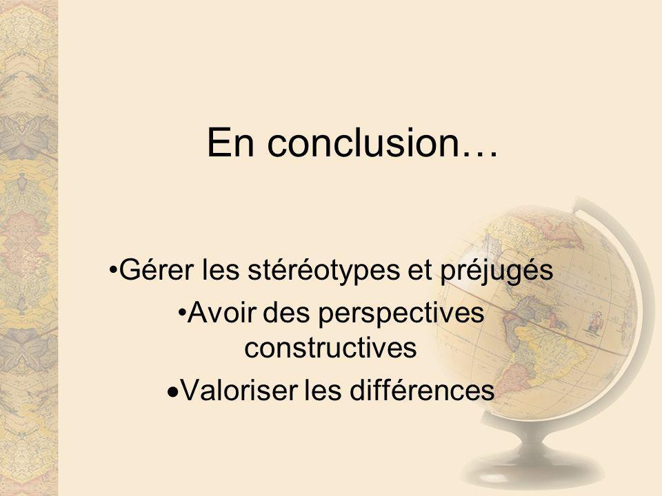 En conclusion… Gérer les stéréotypes et préjugés Avoir des perspectives constructives Valoriser les différences