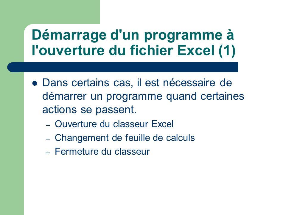 Démarrage d'un programme à l'ouverture du fichier Excel (1) Dans certains cas, il est nécessaire de démarrer un programme quand certaines actions se p