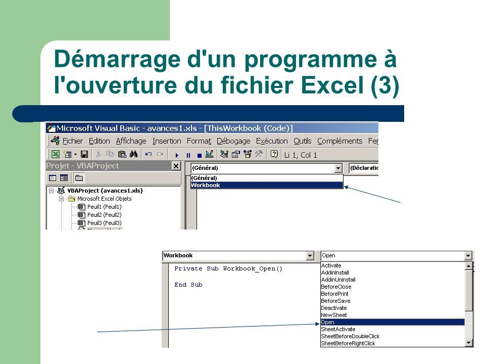 Démarrage d'un programme à l'ouverture du fichier Excel (3)