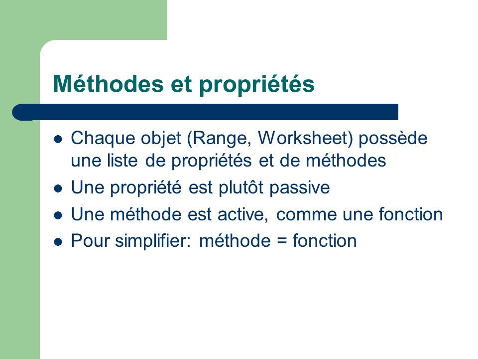 Méthodes et propriétés Chaque objet (Range, Worksheet) possède une liste de propriétés et de méthodes Une propriété est plutôt passive Une méthode est