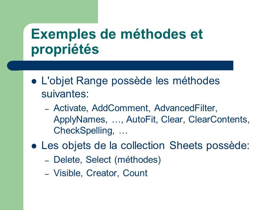 Exemples de méthodes et propriétés L'objet Range possède les méthodes suivantes: – Activate, AddComment, AdvancedFilter, ApplyNames, …, AutoFit, Clear